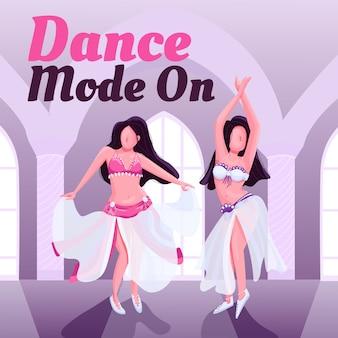 Экзотические восточные танцоры показывают пост в социальных сетях. танцевальный режим на фразу. шаблон веб-баннера. усилитель живота, макет контента с надписью.