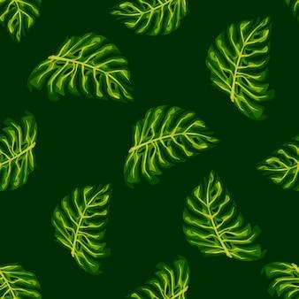 ランダムな緑の怪物の葉の形をしたエキゾチックなヤシの葉のシームレスなパターン。黒の背景。テキスタイル、ファブリック、ギフトラップ、壁紙のフラットベクタープリント。無限のイラスト。