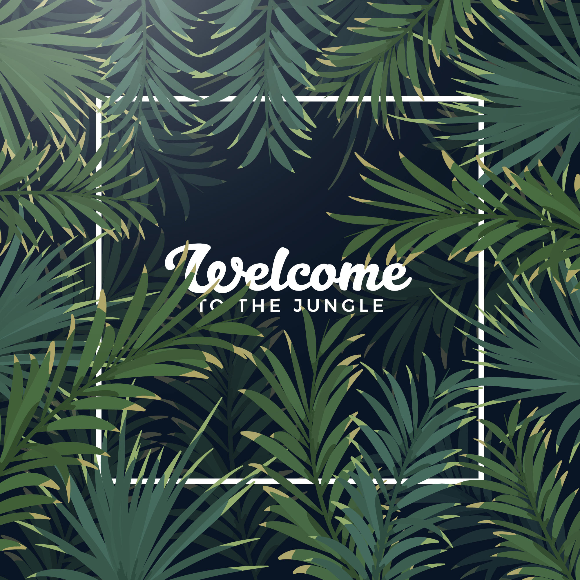 Exotic Palm Leaves Frame Background