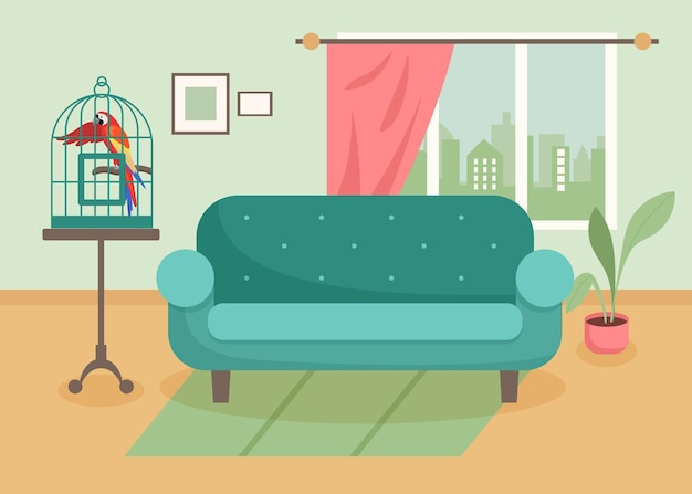 Exotic parrot in cage in living room. domestic multicolored ara, pet macaw, wild tropical bird in cage cartoon illustration