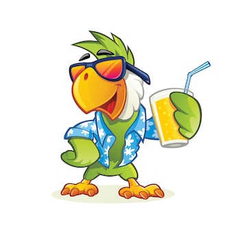 Exotic Parrot with sunglasses holding glass of juice