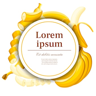 Exotic pattern. banana and slices of bananas.. concept  for postcard and advertising. white circle with place for your text.   illustration for decorative poster