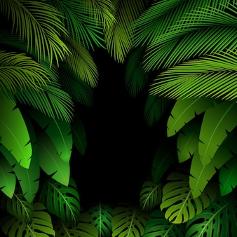 Exotic pattern with tropical leaves background