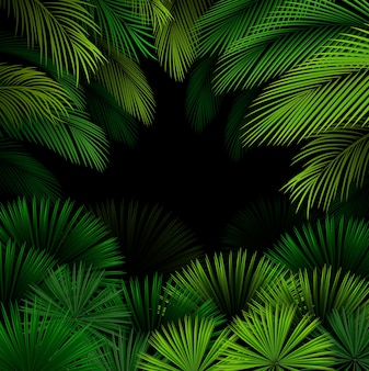 Exotic pattern with tropical leaves on dark background