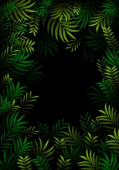 Exotic pattern with tropical leaves in dark forest