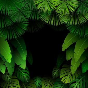 暗い背景に熱帯の葉を持つエキゾチックなパターン