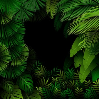Exotic pattern with tropical leaves on dark forest