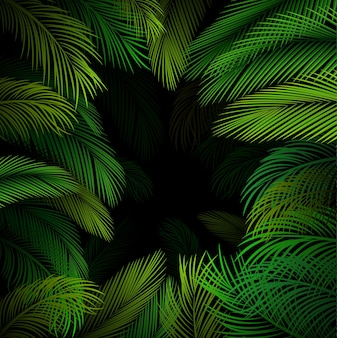 Exotic pattern with tropical palm leaves