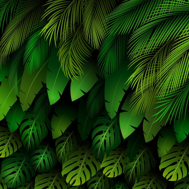 Exotic pattern with tropical plants background