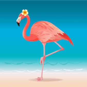 Exotic pink flamingo walking on the hot summer beach. pink flamingo vector illustration.