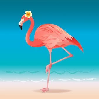 暑い夏のビーチを歩いてエキゾチックなピンクのフラミンゴ。ピンクのフラミンゴのベクトル図です。