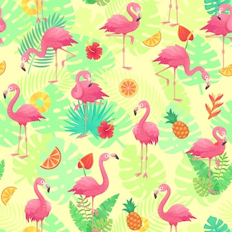 Exotic pink flamingos, tropical plants and jungle flowers monstera and palm leaves.