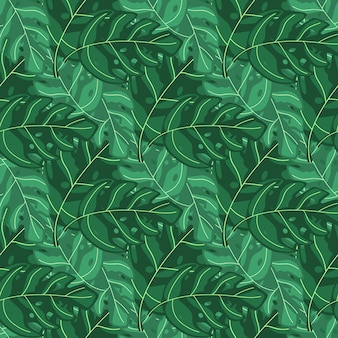 Exotic plant simple tropical monstera leaves seamless repeat pattern