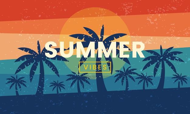 エキゾチックなレトロな夏の雰囲気のデザインの背景