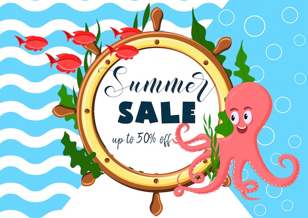 Exotic sea summer sale banner with octopus, ocean fish, sea weeds ship wheel and text.