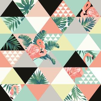 이국적인 원활한 패턴 꽃 열 대 잎.
