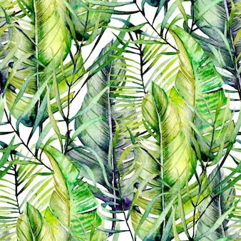 Экзотические бесшовные модели акварели тропических зеленых листьев, рисованной на белом фоне