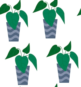 Exotic seamless pattern tropical houseplant in a flower pot. flat colorful vector illustration.