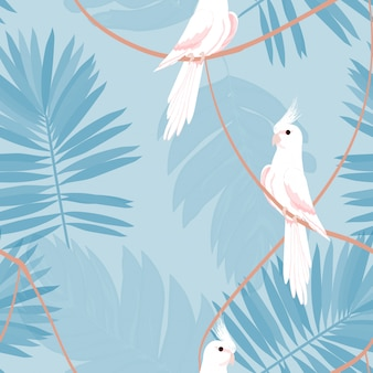 Exotic seamless pattern with a parrot and tropical leaves.