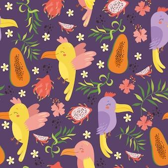Экзотический бесшовный узор с попугаями и фруктами