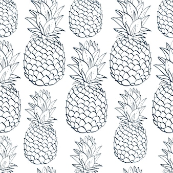 Exotic seamless pattern with pineapples