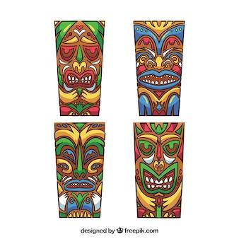Экзотический набор красочных масок тики