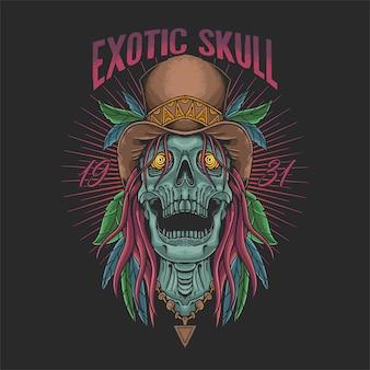 Exotic skull head tropical illustration