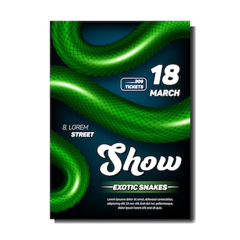 Exotic snakes show stylish advertise poster