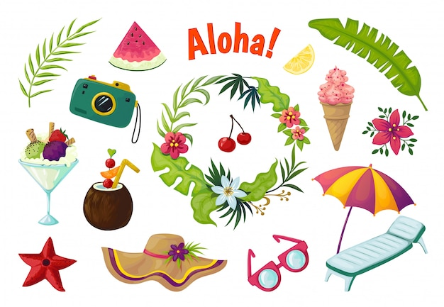 Exotic stickers. summer party tropical collection of doodle fruits leaves cocktail flamingo, jungle vacation abstract elements