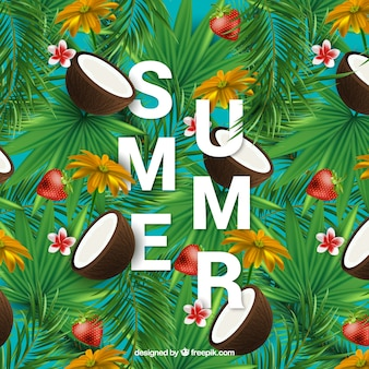 Exotic summer background with coconut