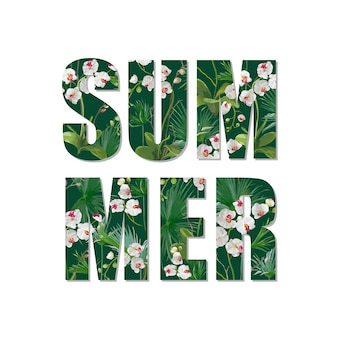Экзотический летний дизайн. тропические цветы орхидеи и листья фон ... футболка мода графика.