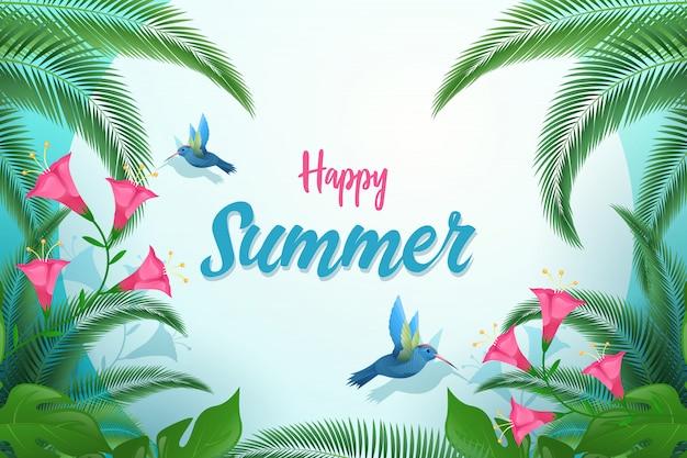 Exotic summer flat banner template