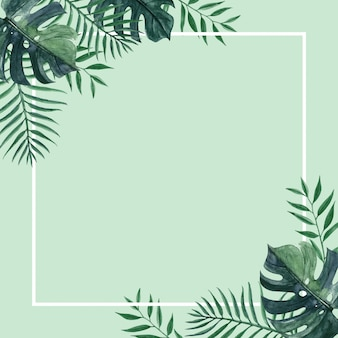 Exotic summer frame card with greenery  palm leaf and monstera