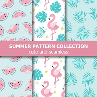 Коллекция экзотических летних узоров. тема фламинго и арбуза, летний баннер. вектор Premium векторы