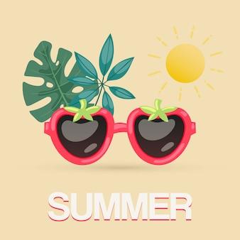 熱帯の葉と太陽のイラストがエキゾチックな夏のサングラス。ビーチパーティーのポスター、旅行ブログ、果実の形のサングラスの熱帯の夏。
