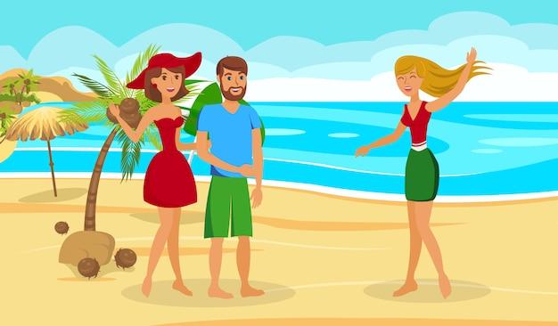 Exotic summer vacation flat vector illustration
