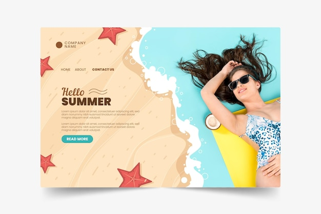 Exotic summertime landing page and girl