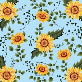 Exotic sunflowers plants with branches background