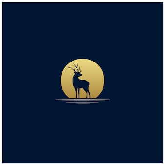 Exotic sunset deer silhouette logo design