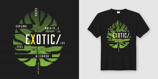 Exotic t-shirt and apparel modern design with tropical style