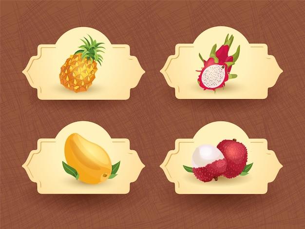 エキゾチックなタイの果物のバッジテンプレート