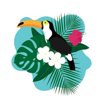 Exotic toucan bird, colorful hibiscus flowers blossom and tropical leaves