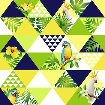 Exotic trendy seamless pattern patchwork vector tropical leaves cockatoo parrot