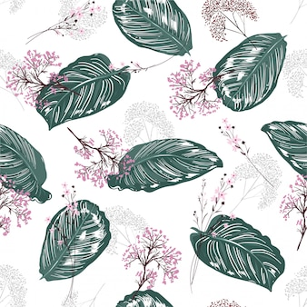 Exotic tropical botanical leaves seamless pattern