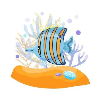 エキゾチックな熱帯魚、蝶の魚、かわいいベクトルイラスト