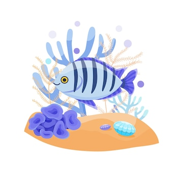 Экзотические тропические рыбы, милые векторные иллюстрации