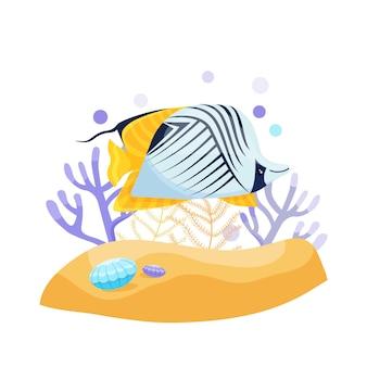 エキゾチックな熱帯魚、かわいいベクトルイラスト