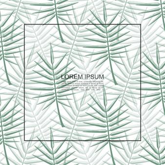 テキストと緑のヤシの葉のベクトル図のフレームとエキゾチックな熱帯の花の植物テンプレート