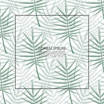 Exotic tropical floral botanical template with frame for text and green palm leaves vector illustration