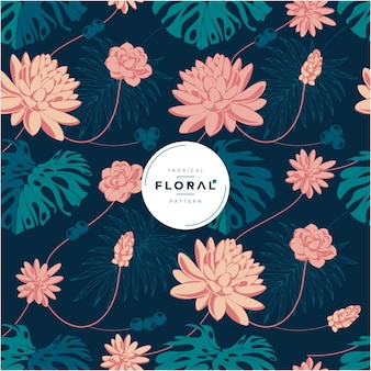 Exotic tropical floral seamless pattern